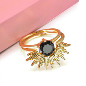Classic Gentle 2pcs/set Sun Black Agate Gold Plated Ring Jewelry