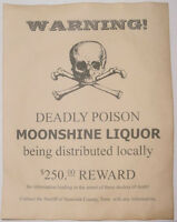 Moonshine Warning Poster, Moonshiner, Bootleg, Bootlegger, Wanted
