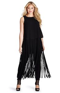 5e05754ea2b90 NEW MYNT 1792 Fringe Blouse TOP DRESS Sz 0X (12W)  198 BLACK ...