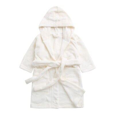 """Vaenait Baby Kids Soft Plush Hooded Bathrobes Dressing Gowns """"angel White"""" 1t-7t"""