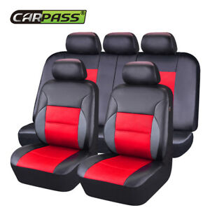 Universal-Car-Seat-Covers-Airbag-PU-Leather-Front-Rear-11-PCS-Red-Black-for-suv