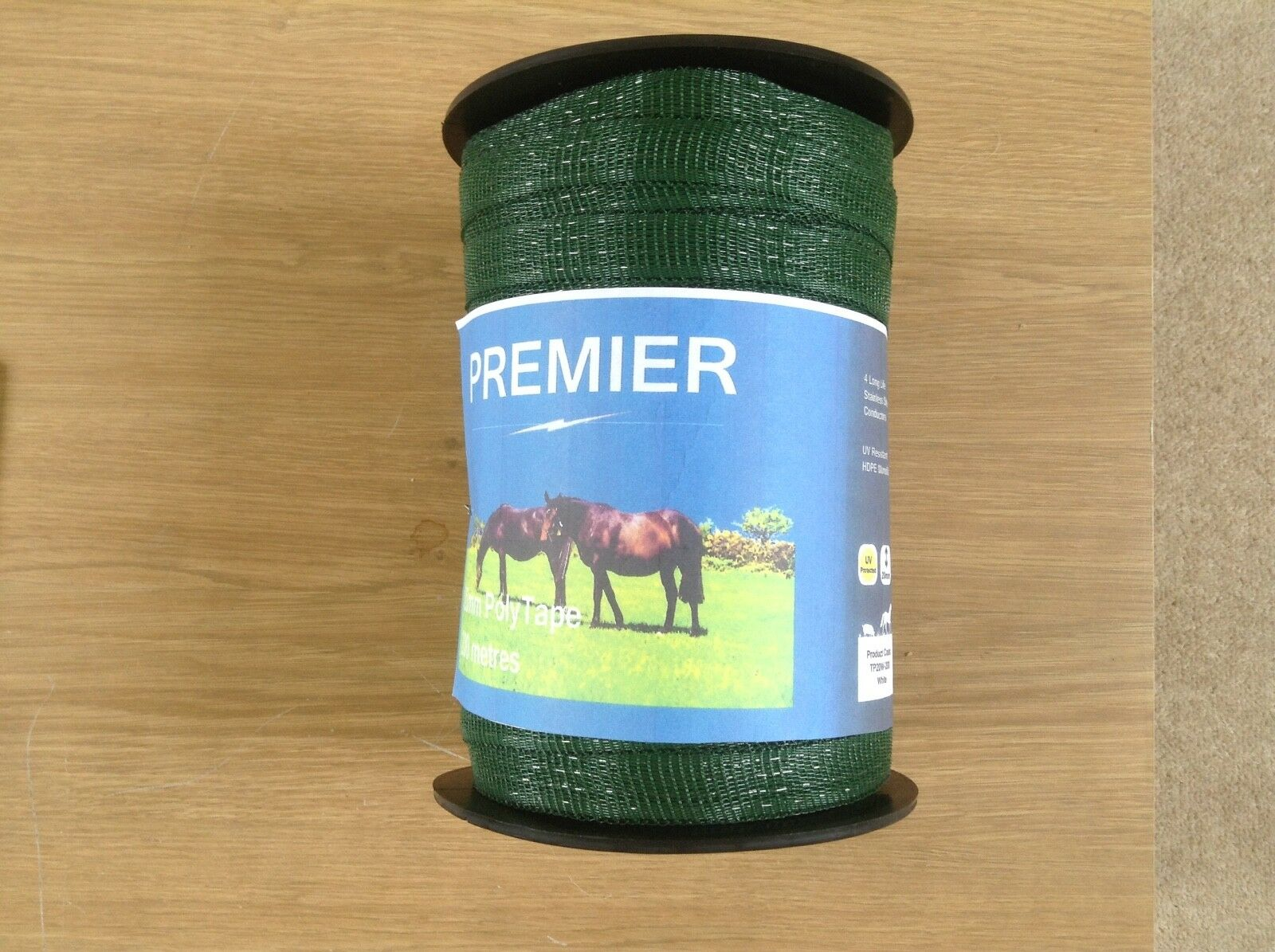 Electric fence tape 40mm x 200m in green