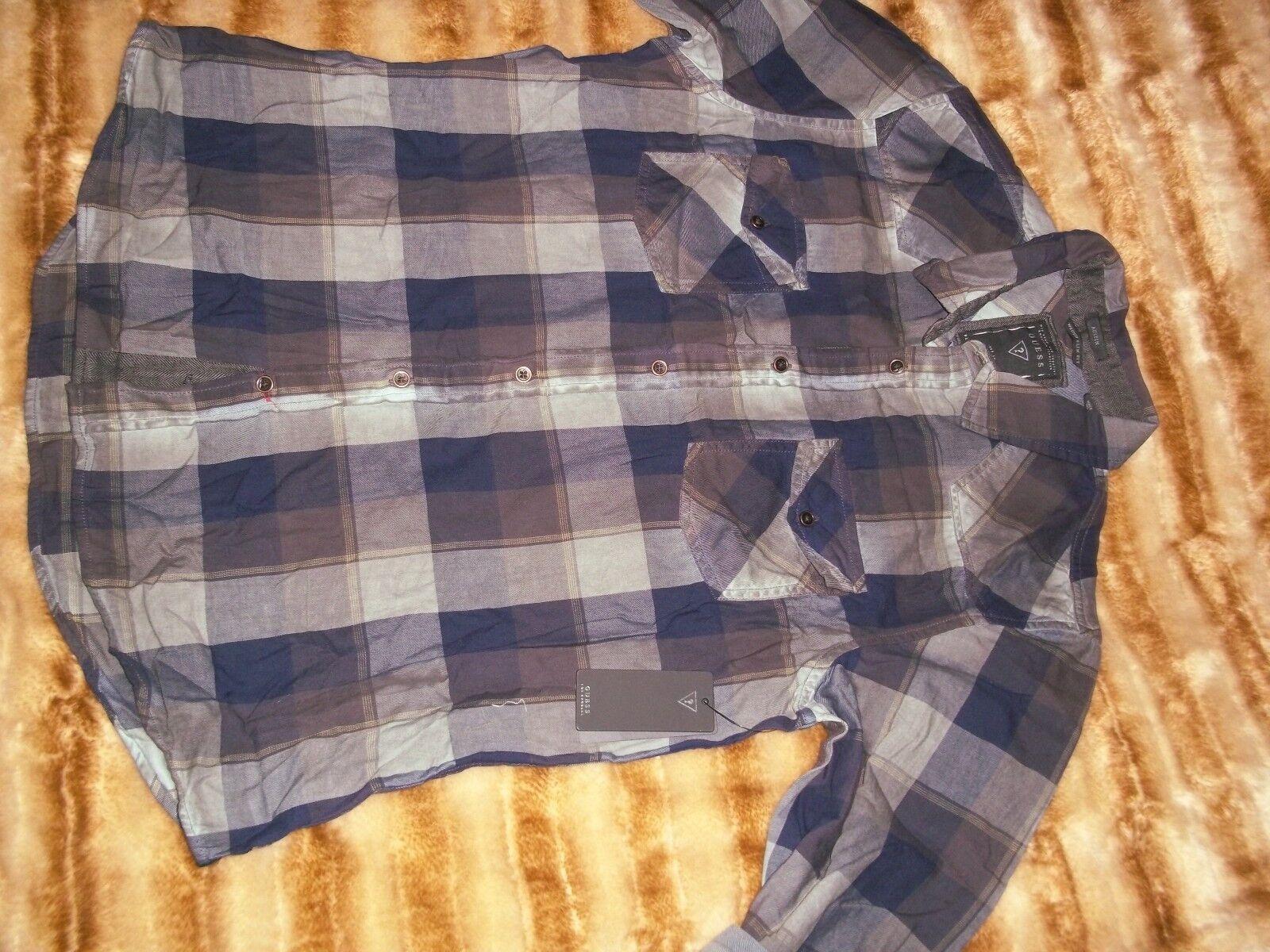 NEW GUESS AUSTIN blueE PLAID STRIPED BUTTON DOWN CASUAL SHIRT XL