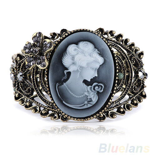 Women Wide Carved Cameo Statue Queen Rhinestone Hollow Bangle Bracelet E1