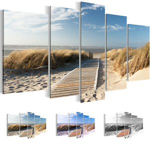 bilder leinwand bild kunstdruck landschaft strand meer blau 5tlg 6040516 27 ebay. Black Bedroom Furniture Sets. Home Design Ideas