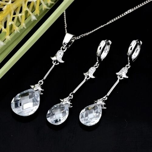 S-137 18K White Gold Filled CZ Necklace////Earrings//Pandent Set