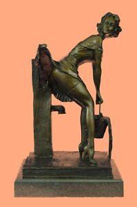 Statue en bronze Art Déco Fille Bronze Sculpture Signd Preiss Hot Cast Figurine Cadeau