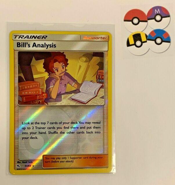 Bill's Analysis 51/68 Reverse Holo Rare Hidden Fates Trainer Pokemon Card