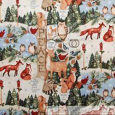 BonEful Fabric FQ Cotton Quilt Winter Xmas Tree Animal Owl Red Cardinal Bird Fox