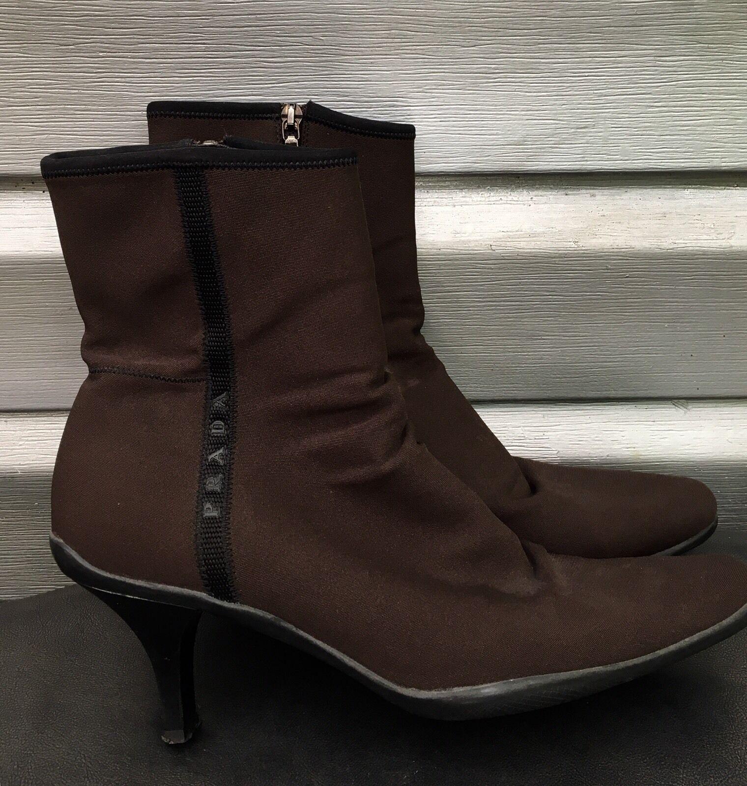 PRADA PRADA PRADA braun Tessuto Nylon Pointed Toe Rubber Ankle Stiefel e17836