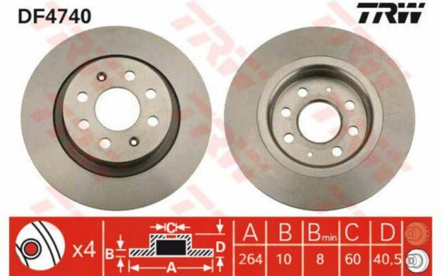 TRW Juego de 2 discos freno Trasero 264mm RENAULT CLIO OPEL CORSA FIAT DF4740