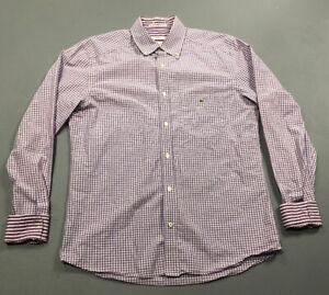 LACOSTE-Men-s-Purple-Plaid-Button-Front-Up-Shirt-Sz-40-Modern-Fit-Flip-Cuff-NICE