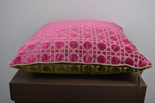 """$395 Nouveau Jay Strongwater Trellis Oreiller Flora Rose Vert 20 /""""SQ"""