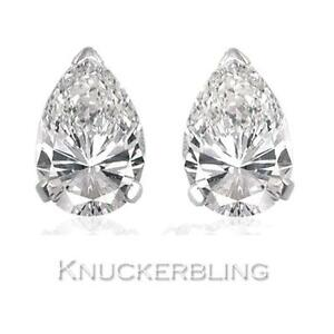 5dcb8629b4a15 Details about 0.50ct Pear Shape Certified F SI Diamond Solitaire Studs in  18ct White Gold