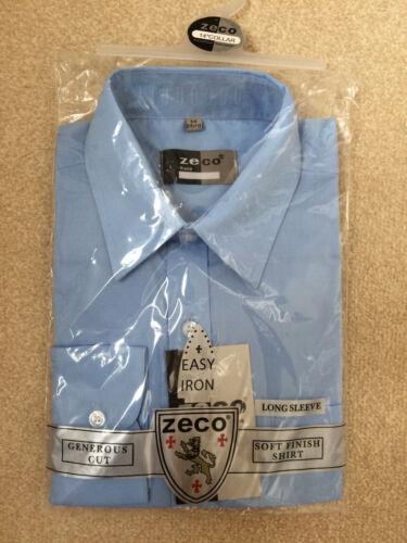 Zeco Ragazze Manica Lunga Morbido Aderente SCHOOL Camicia Blusa Bianco Blu 3-15.5