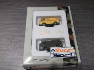 Roco-Minitanks-H0-810-special-2-VW-Bus-Us-Army-und-Fire-Department-1-87-mit-OVP