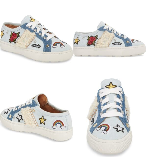 d29a998f99a UGG Patch It Genuine Shearling Trim Sneaker Bleached Denim Color Size 5 US