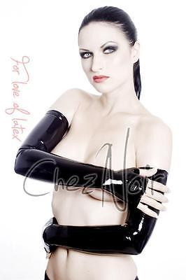 Fingerless Latex Shoulder Gloves Unisex - Black or Red - Rubber Fetish Gummi
