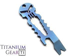 Titanium-Punisher-Bottle-Opener-Ti-Blue-Skull-Spanner-Multi-Tool-Keyring-EDC