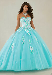 95deab5972d Details about New Lace Aqua Evening Prom Formal wedding Party Quinceanera  dress Ball gown 6-16