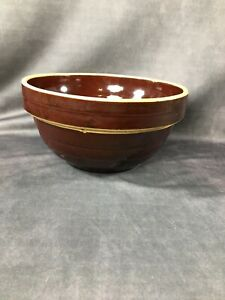 Vintage-Mixing-Bowl-Brown-Glaze-Ribbed-Stoneware-9-inch-USA-Primitive-Rustic