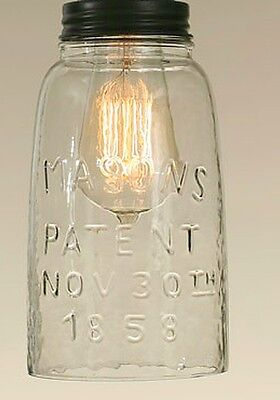 Rustic HG CLEAR Mason Jar Open Bottom Industrial Pendant Replacement Globe  & Lid 801106153177 | eBay