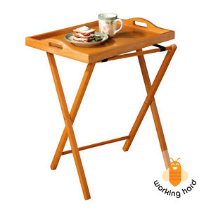 Image Is Loading Folding Tv Tray Table Wood Furniture Laptop Dinner