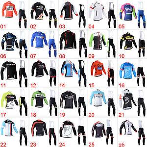 Men Team Outdoor Bike Riding Race Jersey Bib Pants Kits Wear Maillot Long Sleeve