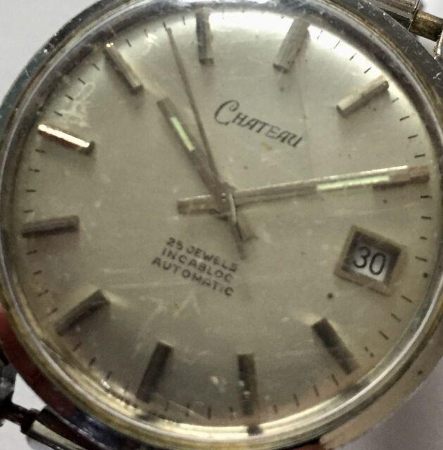 Vintage Working 25 Jewel AUTOMATIC Chateau Incabloc Date WRISTWATCH