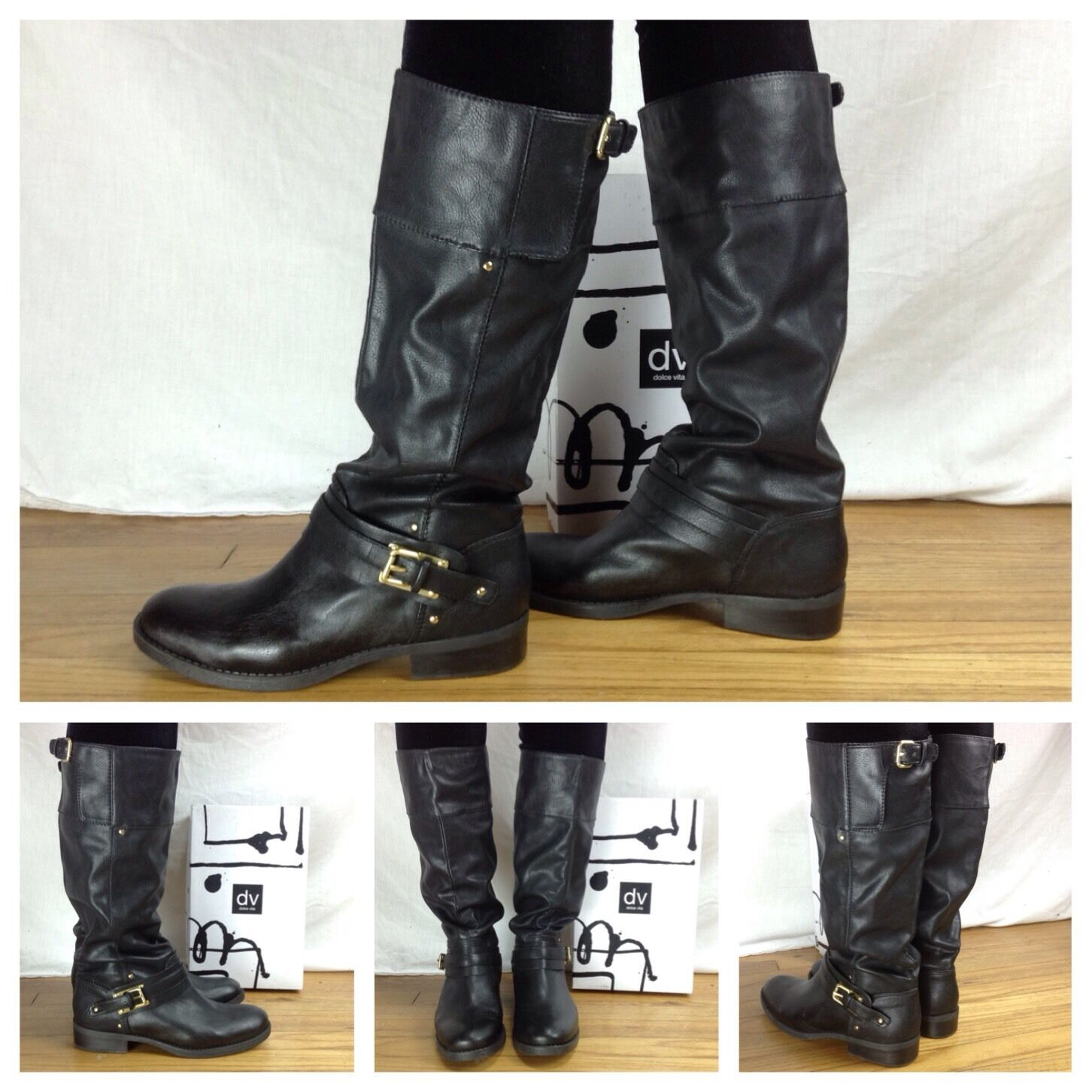Dolce Vita New Sexy Lasso Black Buckle Tall Knee High Riding Boots Size 7.5 $129