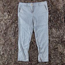 Ann Taylor LOFT Linen Striped Pants Blue/White Size 10  Light Weight Slight Crop