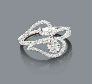 Diamant-Ring-Goldschmuck-14-Karat-585er-Weissgold-0-58-Karat-Wesselton-weiss-Neu