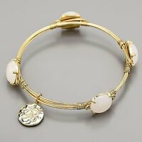 Gold Wire Wrapped Ivory Opal Bangle Bracelet R Initial