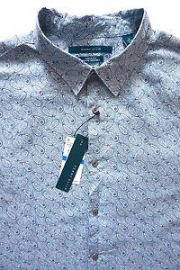 Nwt-Perry-Ellis-Blue-Tonal-Paisley-Print-Linen-Long-Sleeve-Sport-Shirt-XL-XXL
