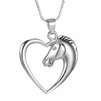 Chic Women Men Swift Horse Heart Silver White Gold Plated Necklace Chain Pendant