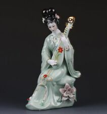Chinese The Color Porcelain Handwork Carved Beautiful Gril Statues G358