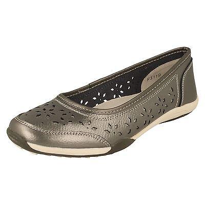 Damen Down To Earth Flache Schuhe rot Leder Sommer Ballett F3119 Size 3 - 8