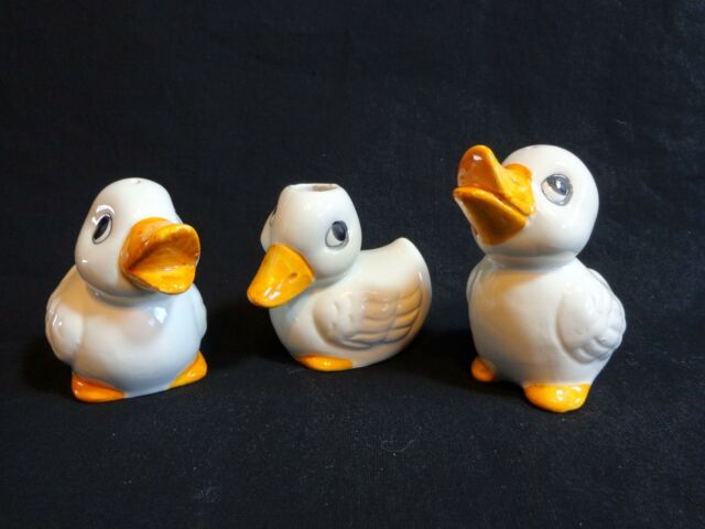 WHITE DUCK Salt and Pepper Shakers and Toothpick Holder Porcelain