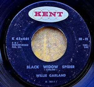 BLUES-HARMONICA-45-WILLIE-GARLAND-Black-Widow-Spider-Soul-Blues-KENT-461