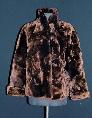 Streng Selten 1950's -1960's Heavy Dunkelbraun Biberlamm Fell Jacke M