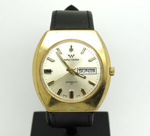 6f969505dfb ... Day Date Wrist Watch running. Image is loading Vintage-Mens-Swiss- WALTHAM-Automatic-909-17-Jewel-