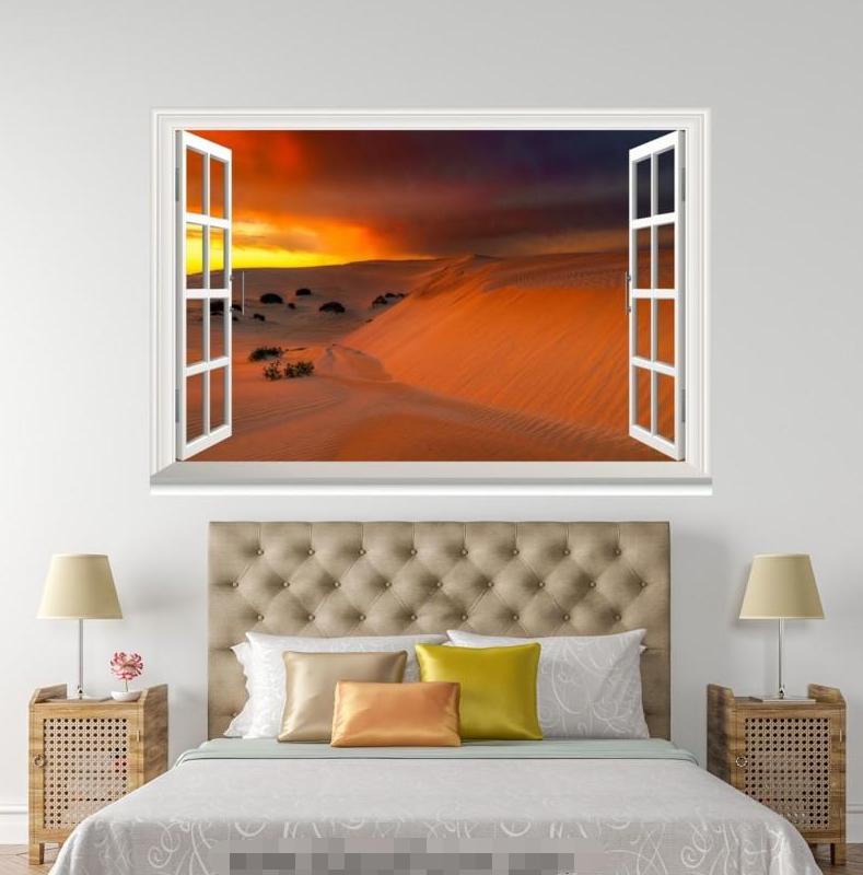 3D Dusk Desert View 116 Open Windows WallPaper Wandbilder Wall Print AJ Jenny