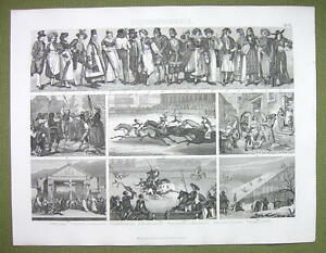 LIFE-amp-Fashion-19th-C-Russia-Skating-Sword-Dance-Horse-Race-1870s-Antique-Print