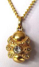pendentif chaîne collier ancien bijou vintage couleur or cristaux diamant  453