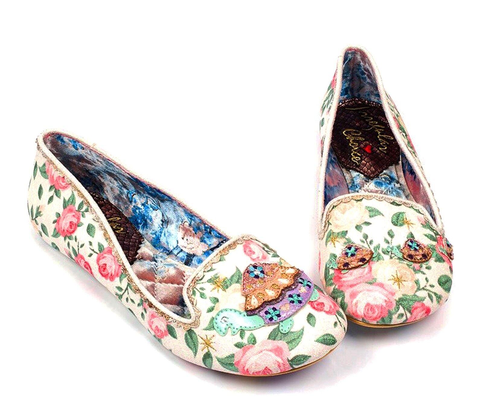 Irregular Choice NEW Tetsudo cream floral turtle glitter ballet shoes sz 3-9