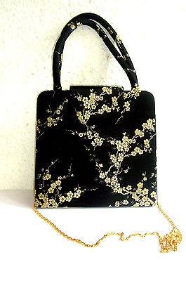 Vintage Damen Clutch Bag kleine Tasche Abendtasche schwarze Seide Stoff Sakura
