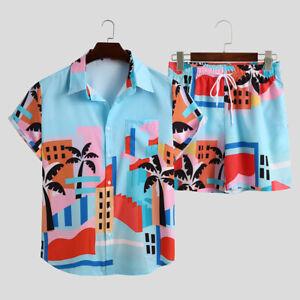 Mens Hawaiian Beach Suit Short Sleeve Shirts Shorts Suit Casual Loose Set Summer