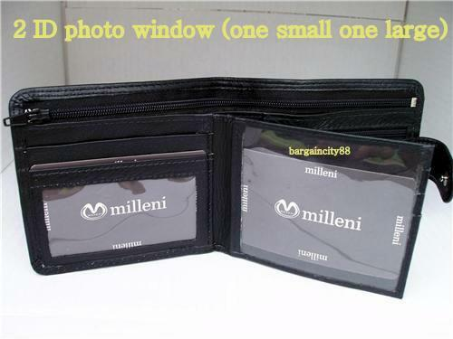 New MILLENI Mens Bifold Tab Genuine Leather Wallet//note ID zip coin card Holder