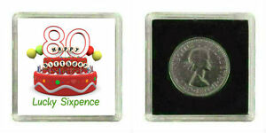 Image Is Loading LUCKY SILVER SIXPENCE COIN 80TH BIRTHDAY FEMALE MALE