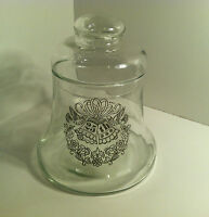 VINTAGE CLEAR GLASS CANDY BELL JAR WITH APOTHECARY LID 25TH WEDDING ANNIVERSARY